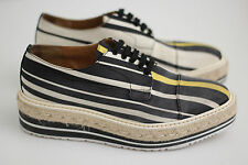 PRADA Striped Platform Creeper Oxford- Black / White / Yellow 7.5US / 37.5 (X20)