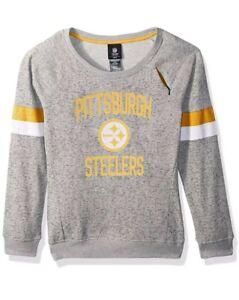 NFL Girls 7-16 My City Boatneck Sweatshirt Grey L 14 Pittsburg Steelers Pullover