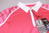 Sunice Ladies Long Sleeved Golf Polo Shirt 1/4 Zip Bright Fuschia Pink/White Med