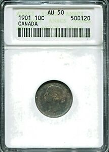 CANADA - FANTASTIC HISTORICAL SILVER 10 CENTS, 1901, KM#3, ANACS GRADED AU 50