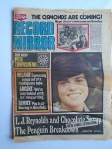 RECORD MIRROR Oct 28th 1972 Donny Osmond Sabbath Who Family Steve Stills Hollies