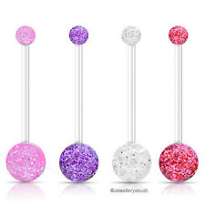 Set of 4 Pregnancy Maternity PTFE Glitter Belly Bars Pink, Clear, Red & Purple