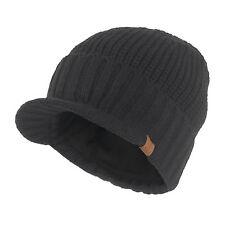 Men Winter Solid Visor Beanie Fleece Lined Knit Hat with Brim Ski Billed Cap
