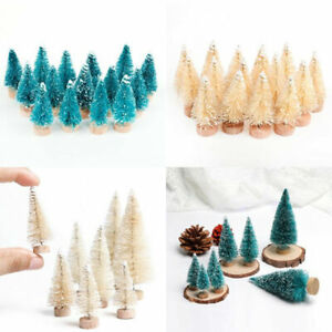 15PC Mini Sisal Christmas Trees Decors Miniature Snow Frost Xmas Party Ornaments