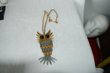 Large SILVER AND GOLD TONE  Owl Necklace