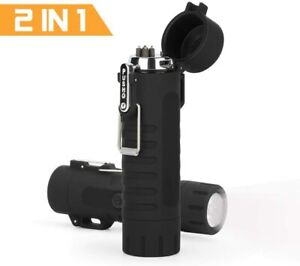 2In1 Plasma Lighter Waterproof Electric Lighter Rechargeable USB LED Flashlight