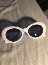 Unisex Kurt Cobain Thick Frame Festival Oval Sunglasses Migos UK WHITE