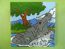 "Ceramic Art Tile 6""x6"" Hand painted Hippopotamus Hippo colorful trivet wall G43"