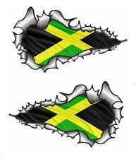 LARGE LONG Handed Pair Ripped Torn Metal Jamaica Jamaican Flag vinyl car sticker