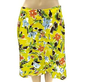 Philosophy Alberta Ferretti Yellow Floral Flared Skirt Size 8