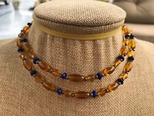HDMD by Cyndi Necklace of Golden Yellow and Blue Glass Beads & Bronze Spacers