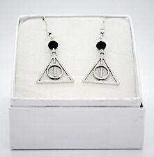 orecchini a triangolo argento doni della morte di Harry Potter pietra bacchetta