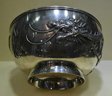 Chinese Export Sterling Silver Dragon Bowl Tuck Chang Mark Qing Dynasty 437g