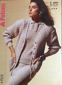 "Patons 4ply  ladies Knitting Pattern Cardigan Sweater Skirt 8605 Size 32/42"""