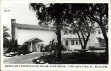 Miami Fl American Czech Czechoslovakian Social Club House Real Photo Postcard
