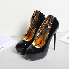 Mens High Heel Platform Strap unsex Drag Queen Stiletto Black Big Shoes Buckle