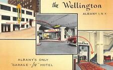 "THE WELLINGTON Albany, NY ""Garage-In"" Hotel 136 State Street Postcard ca 1940s"