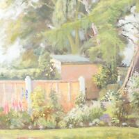 English School oil painting garden landscape flower impressionist 20th century