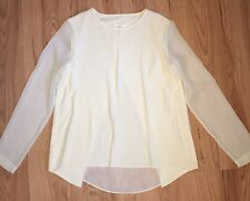 RAG AND & BONE CREAM IVORY CHIFFON LONG SLEEVE SHEER BACK TOP BLOUSE S Small New
