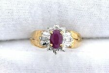 10Kt REAL Yellow Gold Natural Ruby Diamond Gem Gemstone Ladies Ring Size 3.75