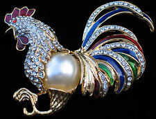 RED BLUE GREEN PEARL GAMECOCK HEN CHICKEN BIRD ROOSTER PIN BROOCH JEWELRY 3.5""