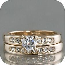 18k rose gold made with swarovski crystal wedding bridal ring set US 5.5 Au L