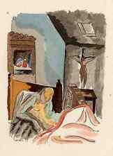 Adolphe FEDER - ALT KRANK und VERLASSEN  - Colorierte Lithographie