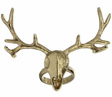 STAG SKULL urban goth BRASS GOLD deer head BIG ANTLER RING quirky TOPSHOP kitsch