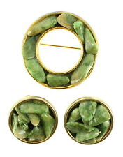 VINTAGE JADE CHIP CHANNEL SET ROUND PIN & MATCHING CLIP EARRINGS