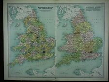 1903 ANTIQUE MAP ~ ENGLAND & WALES ADMINISTRATIVE COUNTIES LINCOLN YORK ESSEX