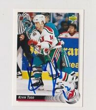 92/93 Upper Deck Kevin Todd New Jersey Devils Autographed Hockey Card