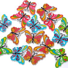 50PCS Mariposa botones de madera de costura Button Artesanía de botone nvnhj