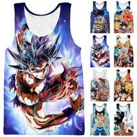 Dragon Ball Z Vegeta Goku Super Saiyan 3D Print Men Sleeveless Tank Top Tee Vest