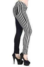 Black White Stripes Split Legs Skinny Punk Stretch Rock Trouser Banned Apparel