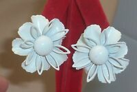 Vintage Big White Enamel 3D Metal Flower Retro Mod Clip on Earrings