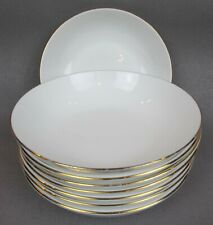 """Set of 8 x vintage Queen Anne BOWLS / DEEP PLATES. White with gold rim. 6.75"""""""