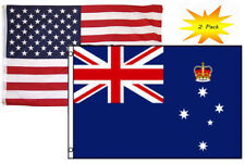 3x5 3'x5' Wholesale Set (2 Pack) Usa American & Victoria Australia Flag Banner