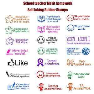 Pre-inked rubber stamp Teacher stamp school homework reward education praise