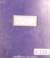 Van Norman 100-72, Punch Press Maintenance Parts List & Instructions Manual 1974