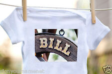 BILL Baby Bodysuit in Photo of Sign - 100% Cotton & Short Sleeve