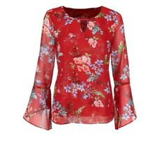 Cabi Devoted Blouse Red Floral Bell Sleeves Large #3590 Multi Color