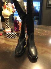 Zara Black Over The Knee Biker Boot Size 10