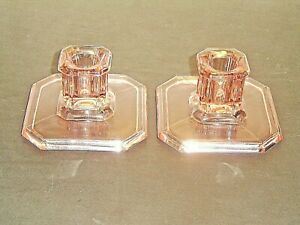 Antique Pair U.S. Glass Tiffin Rose Pink Glass Square Candle Holders #18