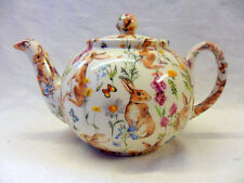 Heron Cross Pottery Rabbit meadow design 2 cup teapot made in UK.