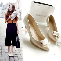 Womens Ladies Metal Deco Low Heel Pointed Toe Pumps Court Shoes UK Size 1-8 C102