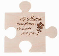 Wooden Jigsaw Piece Coaster Gift Frame Mothers are like flowers engraved