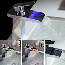LED RGB Bathroom Taps Basin Sink Mixer Waterfall Tap Brass Chrome Color Changing