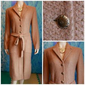 St John Collection Brown Camel Gold Long Jacket L 10 12 Coat Dress Buttons