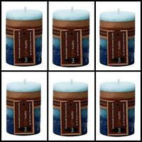 6x Scented Pillar Candle Candles African Rain Rustic Decor 5*8cm Fragrance