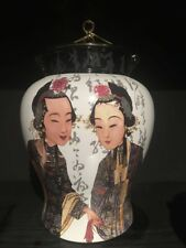 Peking Opera Temple Jar With Brass Lid